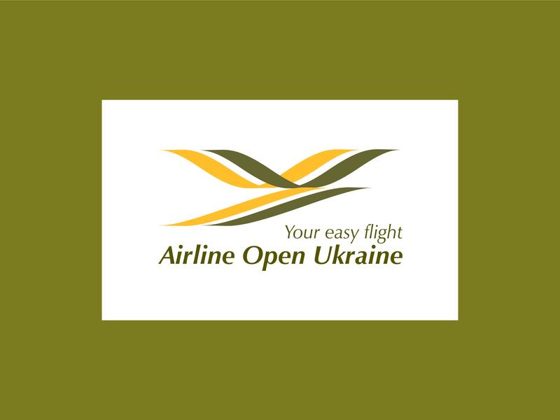 Airline Open Ukraine icon illustration design typography logo