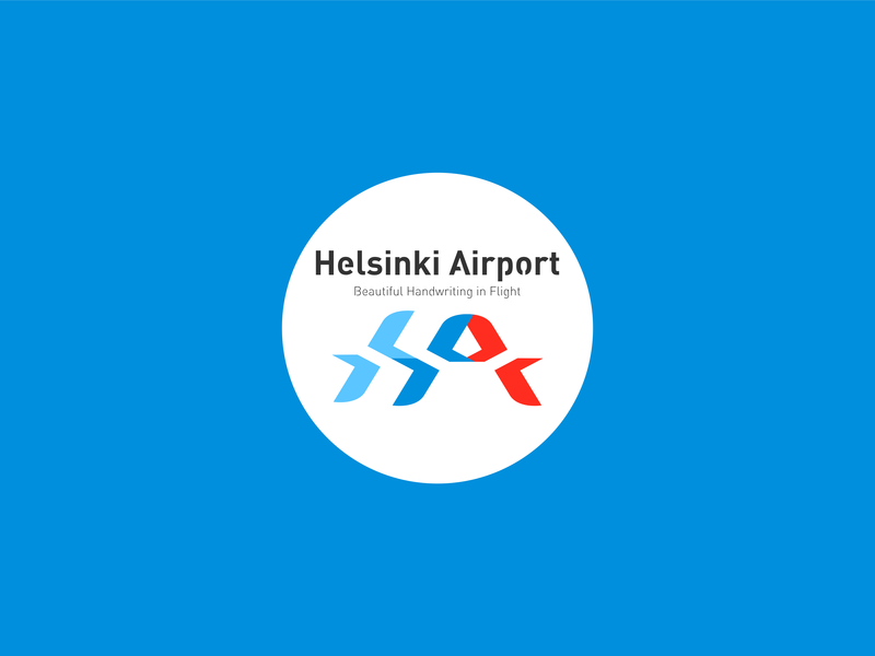 Helsinki Airport icon design illustration typography logo