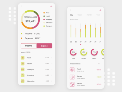 Finance app white clean ui mobile banking app finance app appdesign ux app 2020 ui design