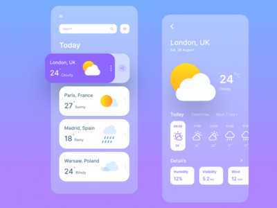 Weather app weather app weather clean ui mobile ui illustration ux appdesign app ui 2020 design