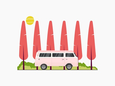 Pink van sun van tree environment vector ui illustration flat design