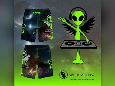 White Aliens Festival Shorts edm shorts aliens design vector clothing music dj