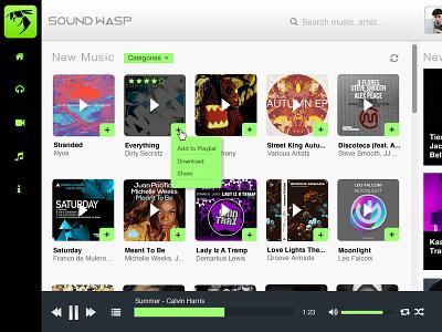Music Web App - Sound Wasp ui design music edm app web wasp sound sound wasp