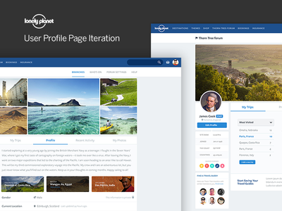 Lonely Planet, Profile Page Design globe planet earth lonely planet forum travel leisure dashboard profile user