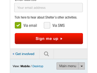 Mobile sign up form