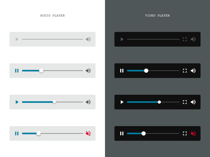 Audio and video player mute start simple mobile ui podcast player video audio