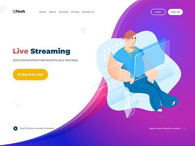Live Streaming live streaming website web design ui design gradient branding