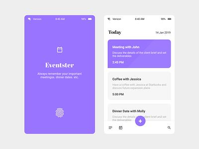 Calendar app event app blue uidesign flat app ui ui design