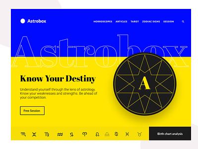 Astrology website concept blue yellow astrology horoscope zodiac design