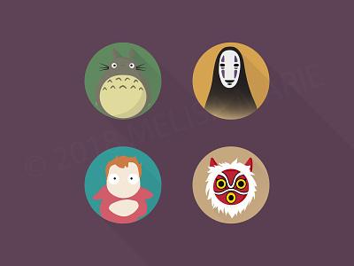 Studio Ghibli Icons flat icon design vector illustration adobe cc illustrator cc icons fanart studioghibli
