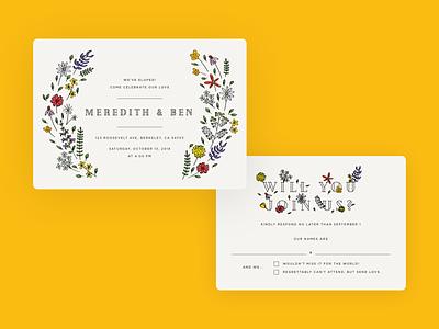 Wedding invite and RSVP typography print postcard rsvp invite flowers wedding