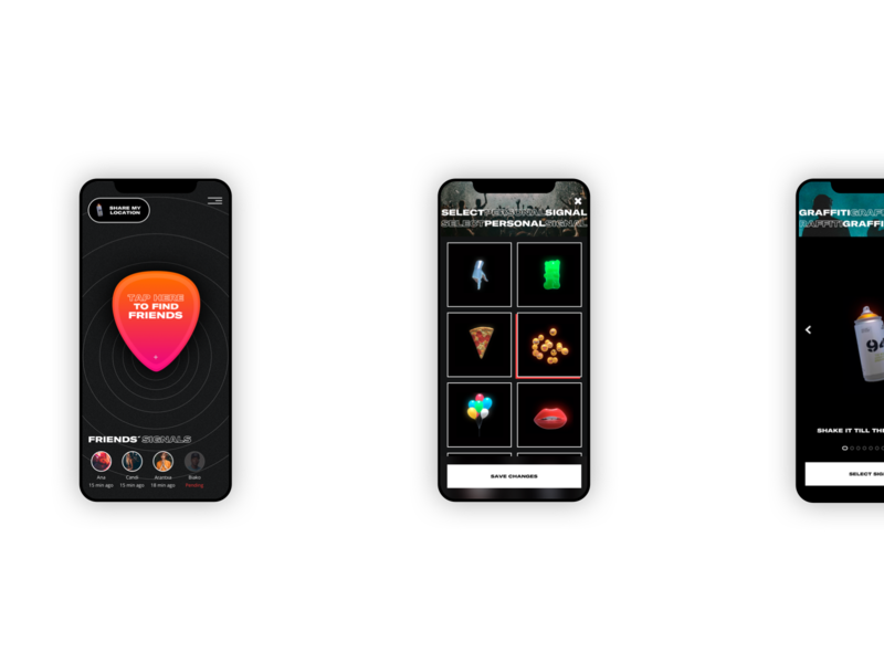 Lost & Sound App dark app design location festival music ux interface ui app