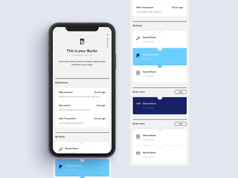 Bunkr Screen notifications ui app design interface minimal clean app