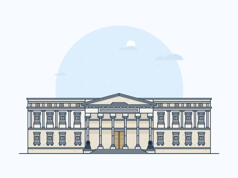 congreso de los diputados column congress vector sketch simple madrid illustration flat classic city building architecture