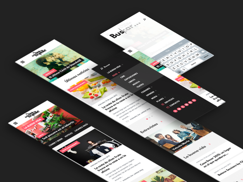 Responsive Blog - Menu  blog responsive app interface user interface user experience smartphone ux ui mobile