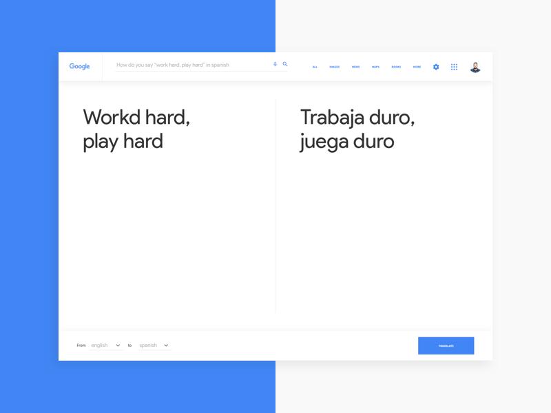 Google Translate ux blue white minimal simple clean interface ui translate google design concept