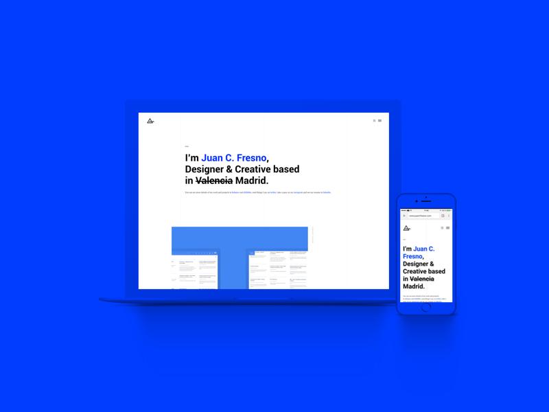 Portfolio blue simple minimal interface responsive juancfresno ux ui portfolio