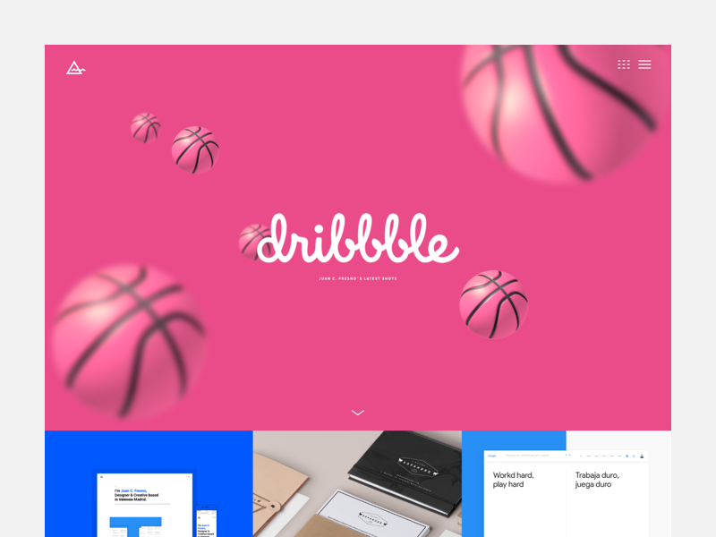 Shots Page bal pink shots dribbble responsive layout grid interface ux ui portfolio