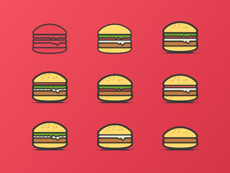 Burger Icon design food bread illustration vector line hamburger interface ui app burger icon