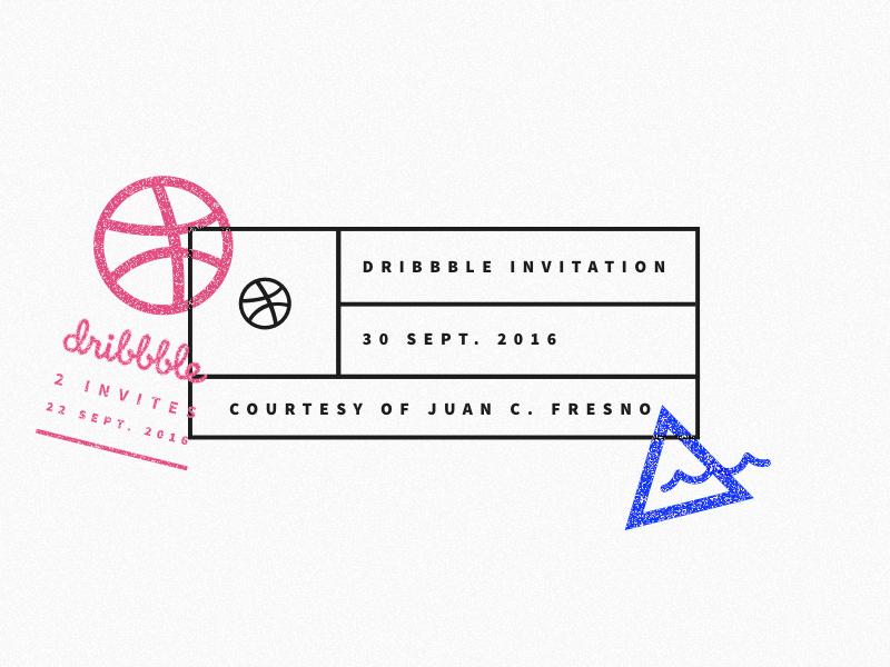 2 Dribbble Invites invitation invite line stamp vector dribbble 2 invites invites giveaway