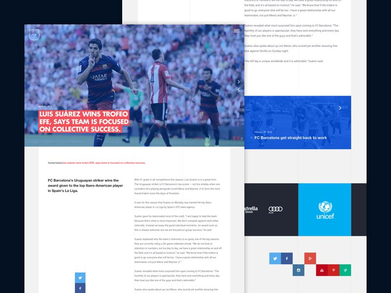 Notice football sports interface page screen modern layout notice web design ux ui fcbarcelona