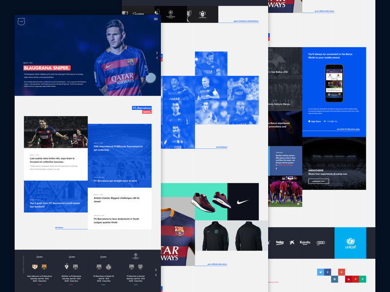 FC. Barcelona Home Design Concept landing webdesign football sports fcbarcelona layout interface ux ui concept design home