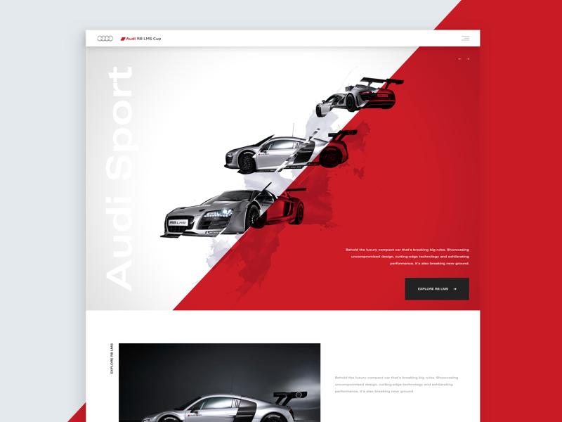 Daily UI Challenge #003 - Landing Page r8 sport red cars audi design interface webdesign landingpage landing ui dailyui