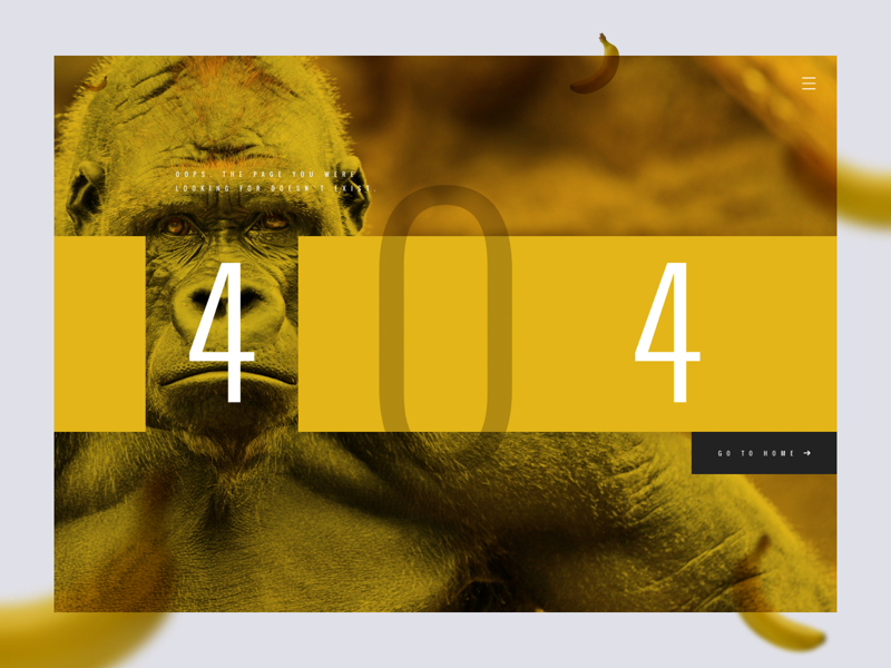 Daily UI Challenge #008 - 404 page 404page 404 error landing webdesign banana gorilla monkey interface ux ui dailyui