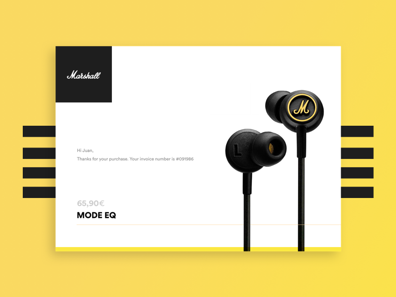 Daily UI Challenge #017 - Mail Receipt yellow marshall headphones mailing email interface 17 receipt daily ui