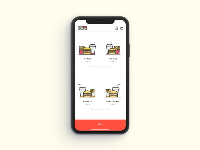 Push for Burger delivery eat food simple clean app burger illustration mobile ui