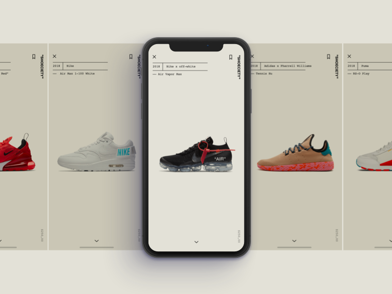 Sneakers - Shoeciety #01 interface shoes clean minimal ux ui sneaker app