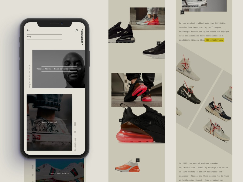 Blog - Shoeciety #02 product news blog minimal clean retro app interface sneakers ui