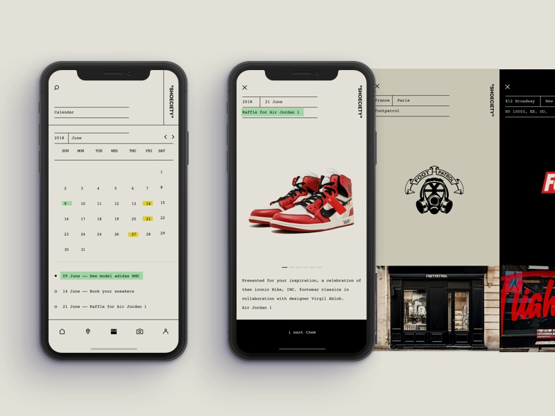 Calendar - Shoeciety #05 interface ux ui sneakers simple event calendar clean app