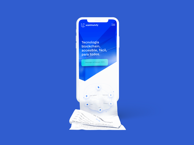 Icommunity Mobile tokens blue home interface ui bitcoin icos blockchain community ico