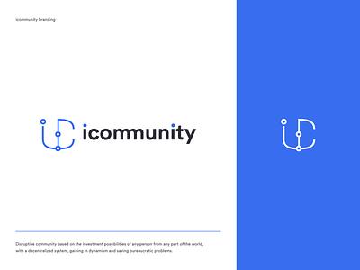 Icommunity logo icos clean blue bitcoin tokens blockchain community brand logo ico