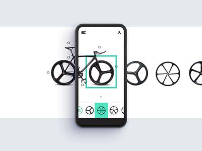 Settings Mobile wheels menu dropdown ui interface settings clean bike app fixie