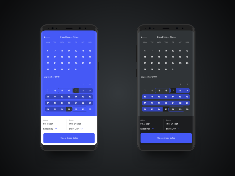 Calendar booking app round trip dates clean dark interface ui travel booking app calendar