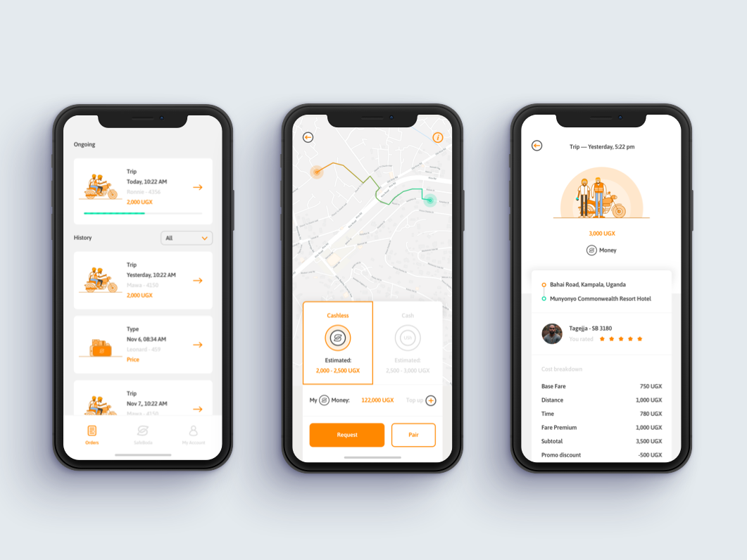 SafeBoda App resume illustrations clean ticket history interface ui rider app safeboda