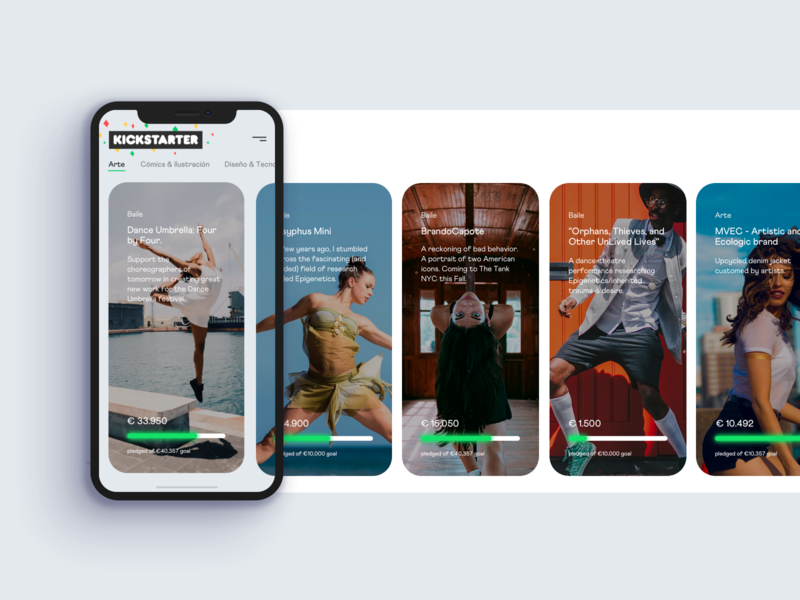 Daily UI Challenge #032 - Crowdfunding Campaign concept dancing dance clean crowdfunding app dailyuichallange 032 dailyui 032 kickstarter