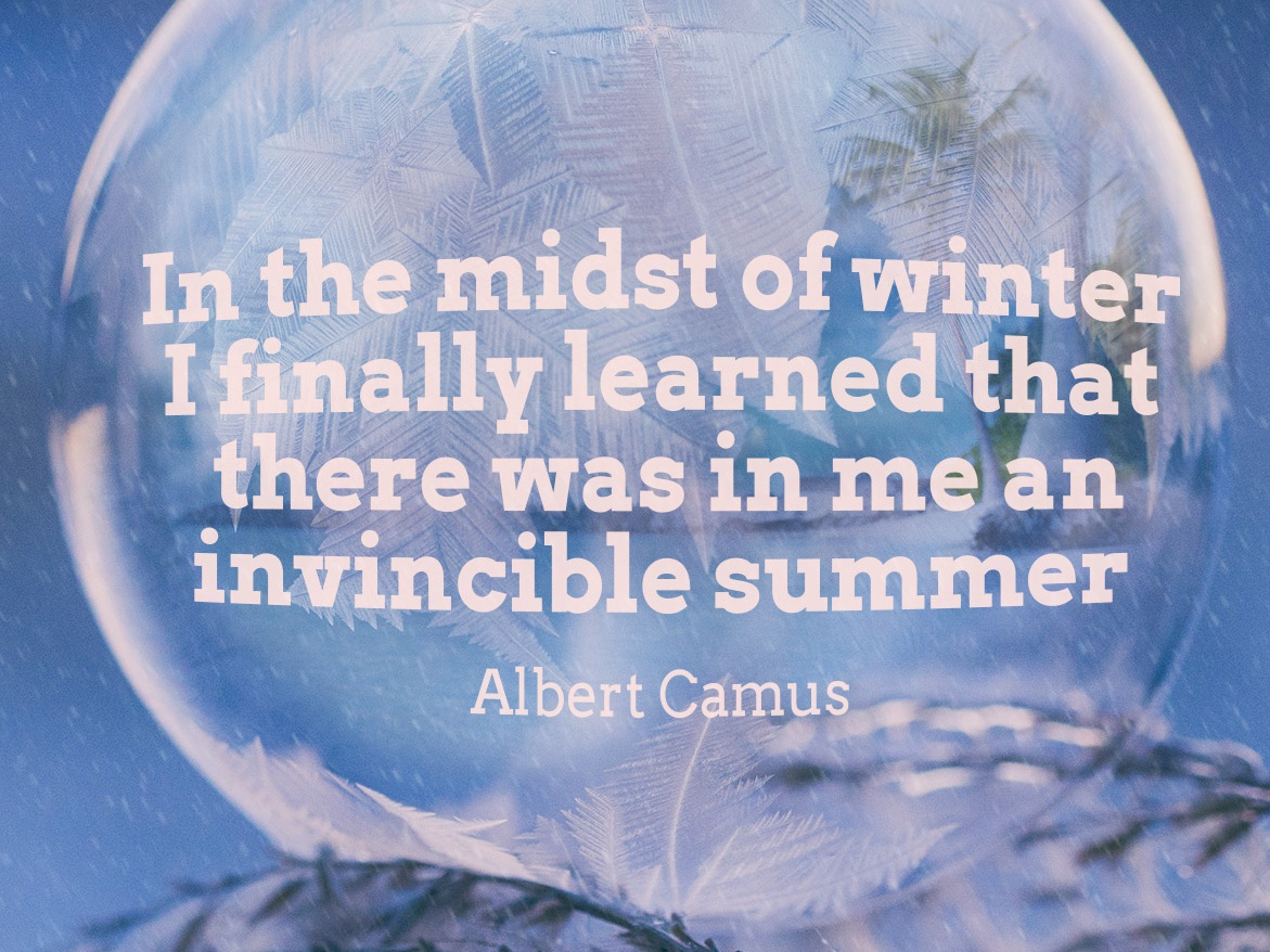winter camus winter encouragement unsplash inspirational quote typography design photoshop photomanipulation