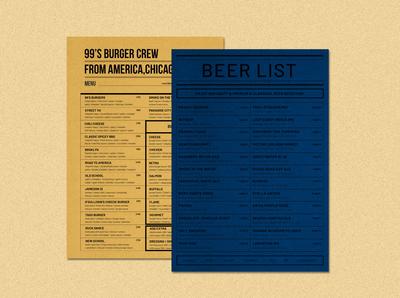 Burger menu  & beer list