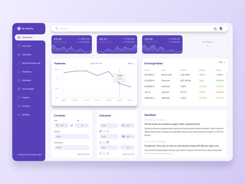 Currency dashboard with UI Animation