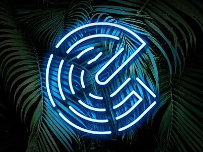 E NEON designer icon type logo sleek modern photoshop lights blue fun graphic design leaves tropical palm neon