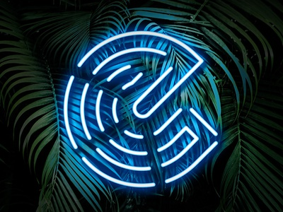E NEON designer icon type logo sleek modern photoshop lights blue fun graphic design leaves tropical palm neon