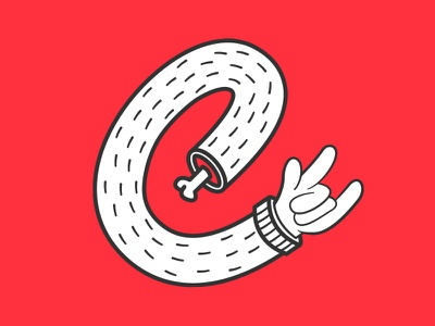 E-HORNS designer evoke.d 2weeksofe evoke graphic designer graphic design type letter e colour bright vibrant fun band gig metal rock horns