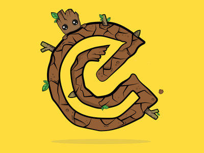 2 Weeks of E - Grut letters type wood yellow colour doodle art adobe illustrator illustration dribbble guardians of the galaxy grut