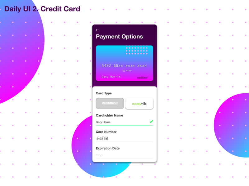 Daily UI - 2. Credit Card daily challange daily 100 ux design