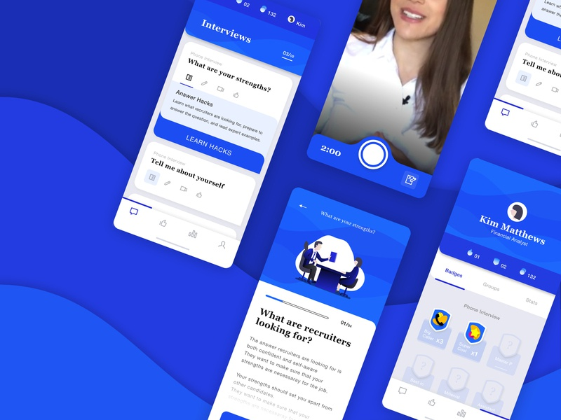 Job Interview Prep App Design product interface teaching training interview mobile app ux design
