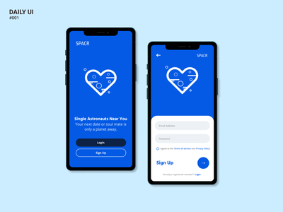 Daily UI Challenge #001 : SPACR Sign Up sign up screen sign up form design figma dating app signup app daily 100 challenge dailyuichallenge daily ui dailyui ui
