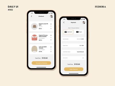Daily UI Challenge #002 : FEDIORA Checkout chicago adobe xd app clothing store fashion ux design ux ecommerce dailyui 002 daily 100 challenge dailyuichallenge daily ui dailyui ui